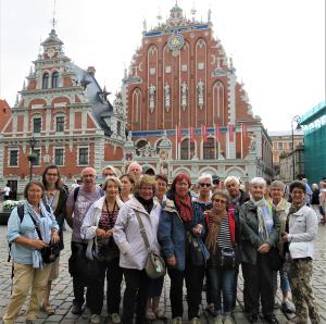 le groupe à Riga capitale de la Letonie